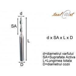 Freza HSS-E, 1 dinte, cu umar, continua (EC)