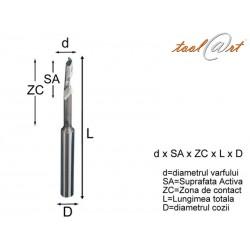 Freza HSS-E, 1 dinte, cu umar, 2 zone (EC)